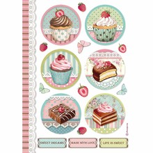 Stamperia Rice Paper A4 Sweety Round Mini Cakes (DFSA4503)