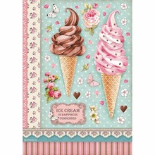 Stamperia Rice Paper A4 Sweety Ice Cream (DFSA4504)