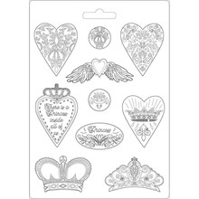 Stamperia Soft Maxi Mould Princess Hearts and Crowns (K3PTA471)
