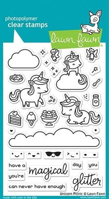 Lawn Fawn Unicorn Picnic Clear Stamps (LF2319)