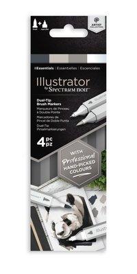 Spectrum Noir Illustrator Blendable Alcohol Markers Essentials (4pcs) (SN-IL4-ESS)