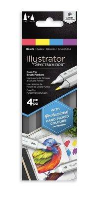Spectrum Noir Illustrator Basics  Alcohol Markers Essentials (4pcs) (SN-IL4-BAS)