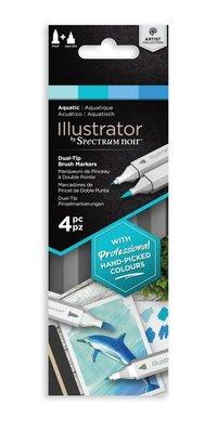 Spectrum Noir Illustrator Aquatic  Alcohol Markers Essentials (4pcs) (SN-IL4-AQU)