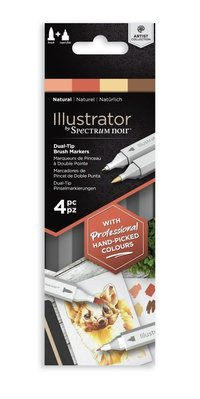 Spectrum Noir Illustrator Natural  Alcohol Markers Essentials  (4pcs) (SN-IL4-NAT)