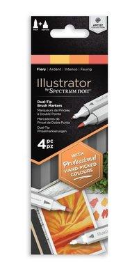 Spectrum Noir Illustrator Fiery  Alcohol Markers Essentials (4pcs) (SN-IL4-FIE)