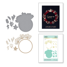 Spellbinders Christmas Foliage Circle Border Glimmer Hot Foil Plates & Dies (GLP-188)