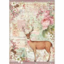 Stamperia Pink Christmas Rice Paper A4 Christmas Deer (DFSA4474)