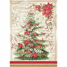 Stamperia Classic Christmas Rice Paper A4 Christmas Greetings Tree (DFSA4476)