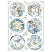 Stamperia Winter Tales Rice Paper A4 Round Castle (DFSA4496)