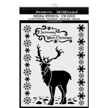 Stamperia Mixed Media Stencil Thick 20x25cm Winter Tales White Christmas Deer (KSTD052)