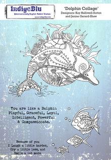 IndigoBlu Dolphin Collage A5 Rubber Stamp (IND0624)