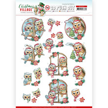 Yvonne Creations 3D Push Out Christmas Village Christmas Owls (SB10475)