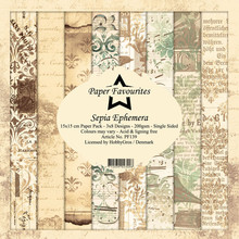 Paper Favourites Sepia Ephemera 6x6 Inch Paper Pack (PF139)