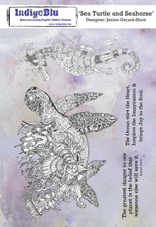 IndigoBlu Sea Turtle and Seahorse A5 Rubber Stamp (IND0666)