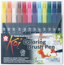 SAKURA Koi Coloring Brush Pens 12 Color Set (XBR-12)