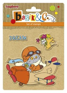 ScrapBerry's Set Of Clear Rubber Stamps 10,5x10,5 cm Basic's New Adventure 4 (SCB4907038)