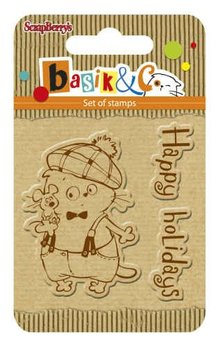 ScrapBerry's Set Of Clear Rubber Stamps 7x7 cm Basik & Co Happy Holidays (SCB4907041)