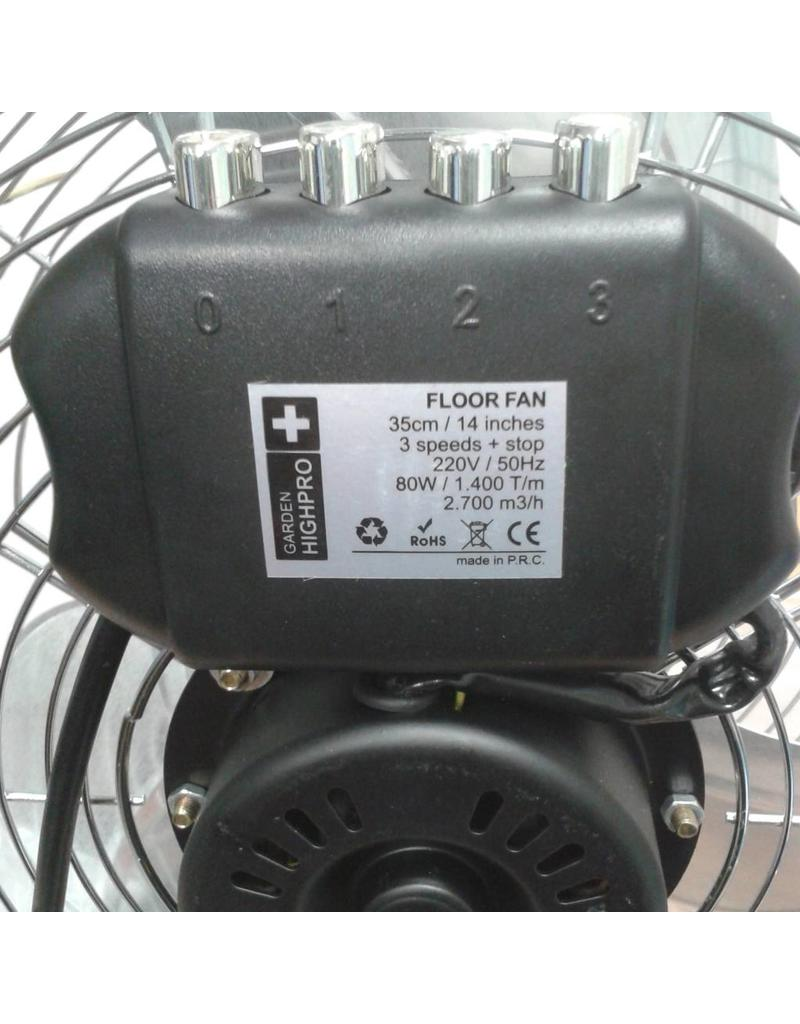 Garden High Pro Vloerventilator Floor Fan ECO 50cm (ventilator) Zilver Extra zuinig