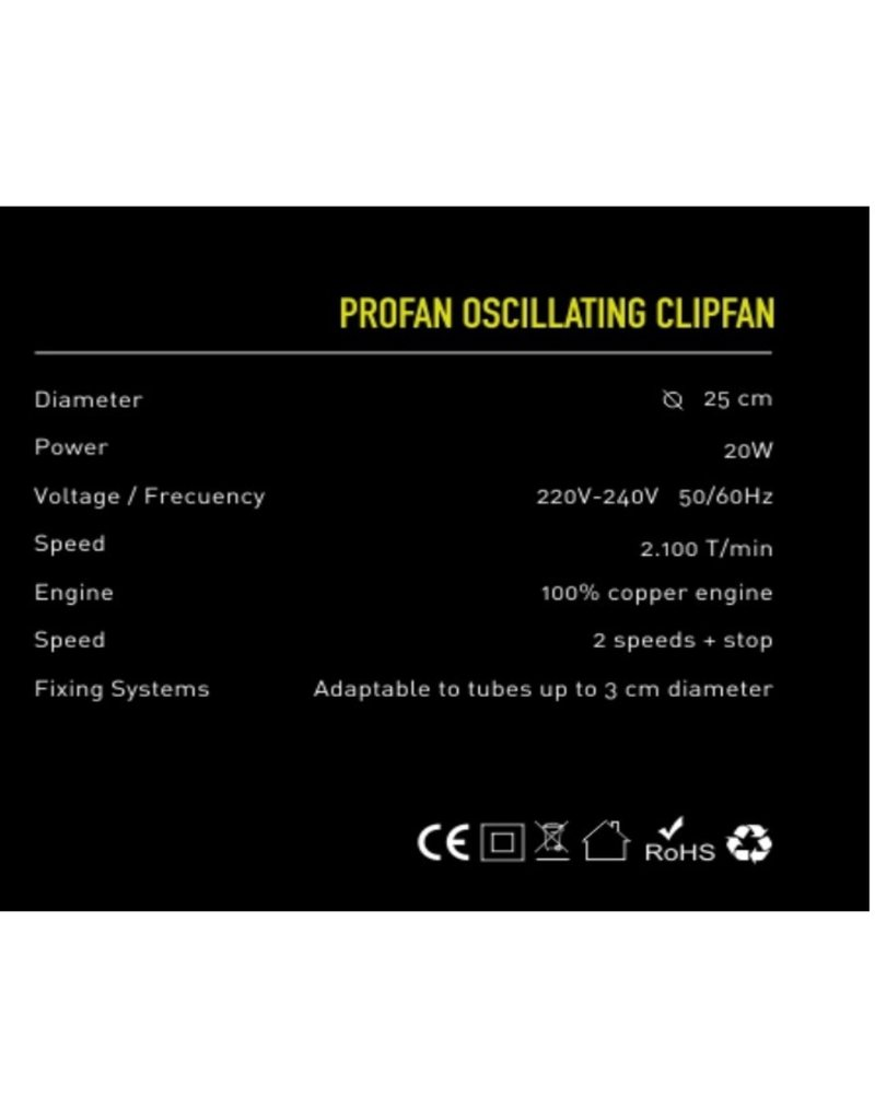 Garden High Pro Garden HighPro 25cm Clipfan Tischventilator, 2-Gang, Schwenkfunktion