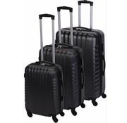ProWorld Kofferset 3-delig donker grijs deluxe ABS