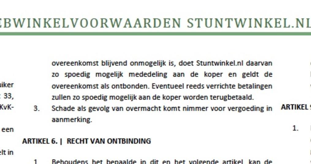 De algemene voorwaarden van Stuntwinkel.nl zijn gereed