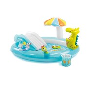 Intex Opblaasbaar speelzwembad krokodil - met glijbaan - 203x173x89cm