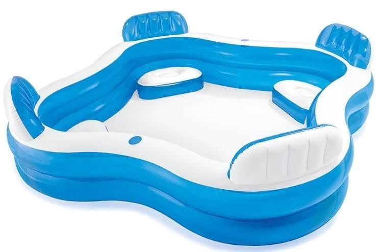 Familie Lounge Zwembad met 4 Zitjes (239x239x66cm) Intex