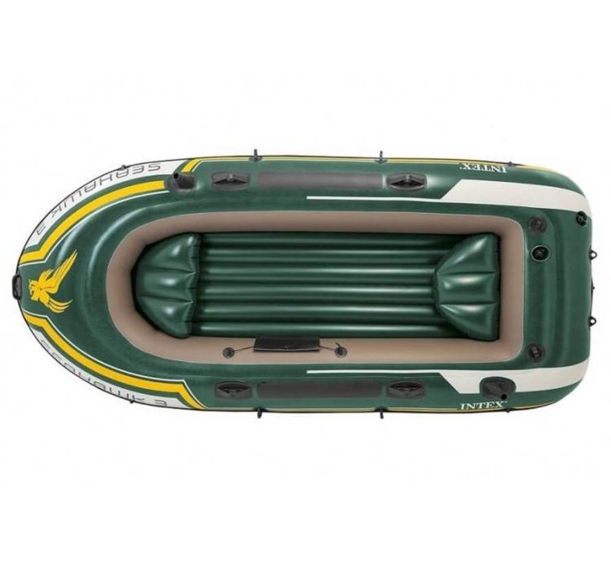 3-Persoons opblaasbare boot set - Seahawk 3 - met peddels en pomp - 295cm lang x 137cm breed x 43cm hoog