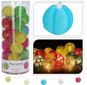 Party Lighting Feestverlichting - met 20 gekleurde lampionnen - met 20 LED lampen - 10,75 Meter