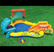 Intex Dinosaurus speelzwembad met glijbaan, watersproeier en speelballen