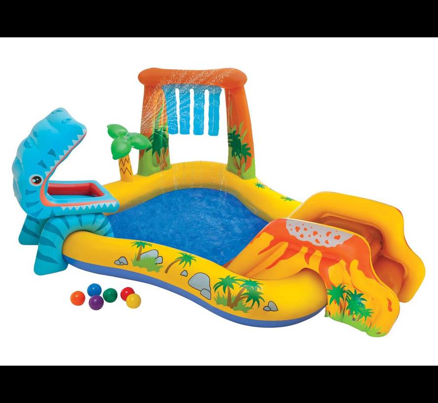 Dinosaurus speelzwembad met glijbaan, watersproeier en speelballen