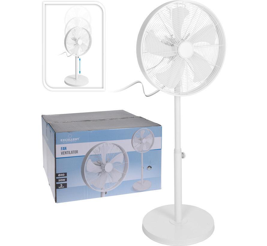 Luxe staande ventilator - wit - 3 snelheden - Ø40cm diameter - 50 Watt - verstelbaar in hoogte 90cm -125cm