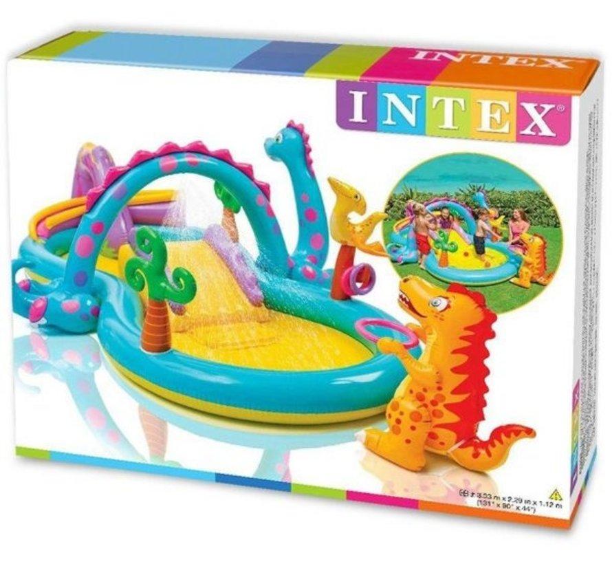 Dinoland speelzwembad - met glijbaan - met sproeier - 333cm lang x 229cm breed x 112cm hoog