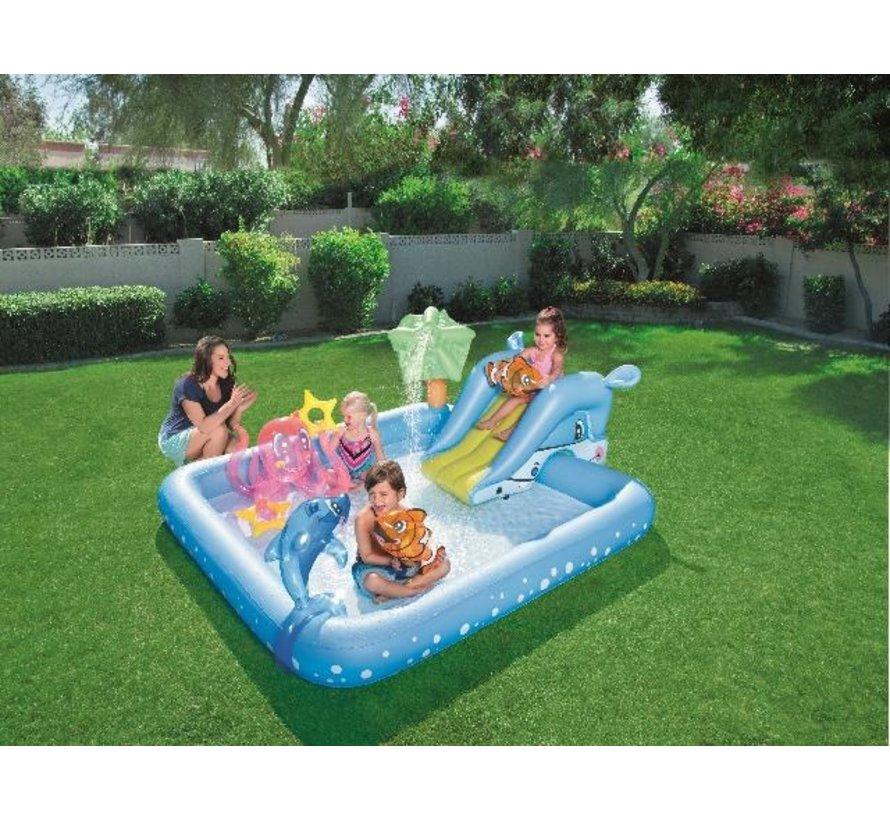 Opblaasbaar speelzwembad - Fantastic Aquarium - met glijbaan - 239x206x86cm