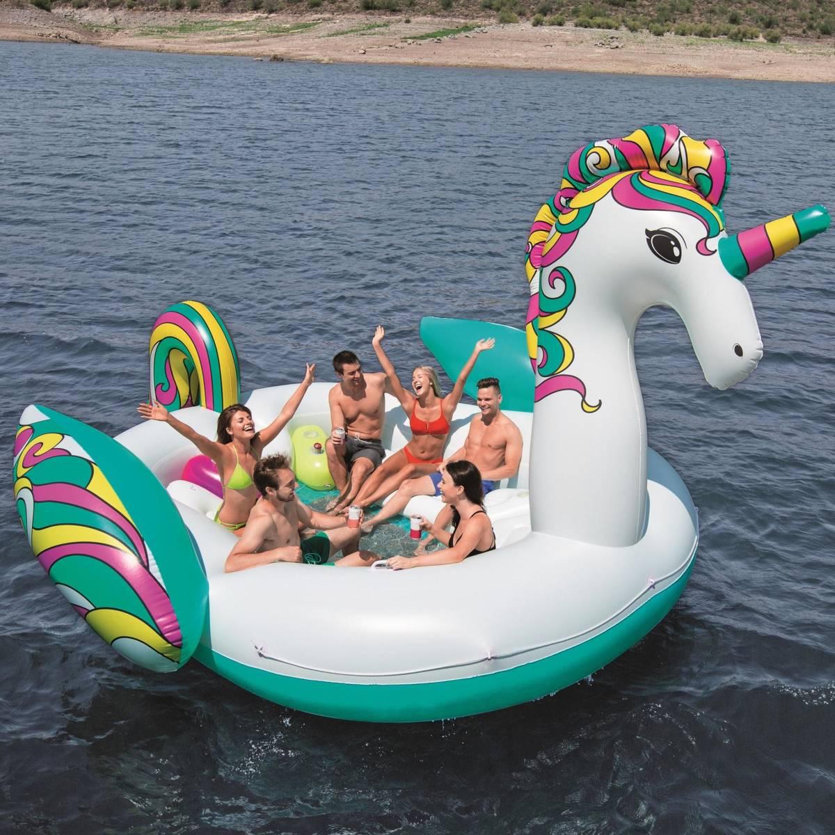 Floatin' Fashion - opblaasbare SUPERSIZED Unicorn - 590cm lang x 404cm bree