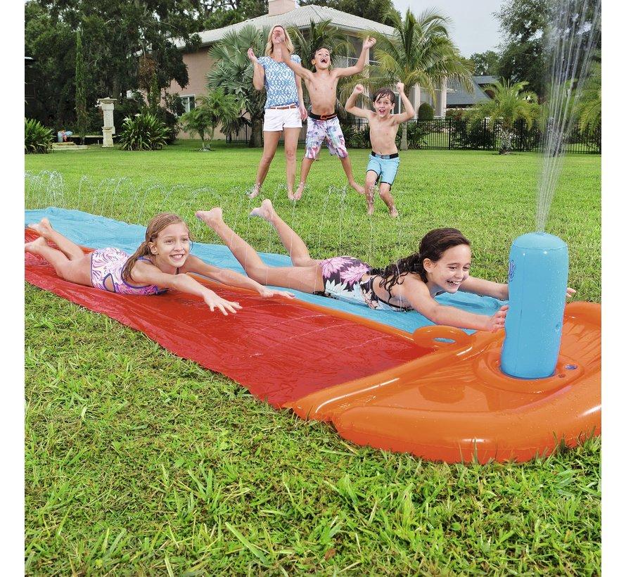 H2OGO! Double Slider waterglijbaan - met sproeier - 549cm lang x 136cm breed