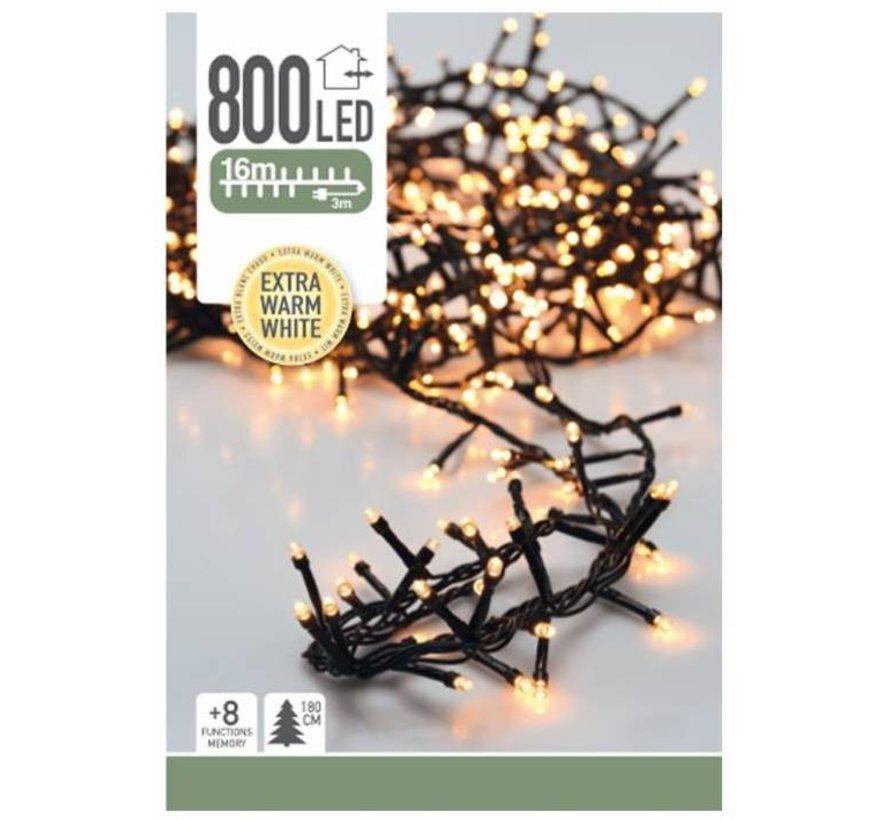 Kerstverlichting - 800 LED - extra warm wit - 8 standen - 19 Meter