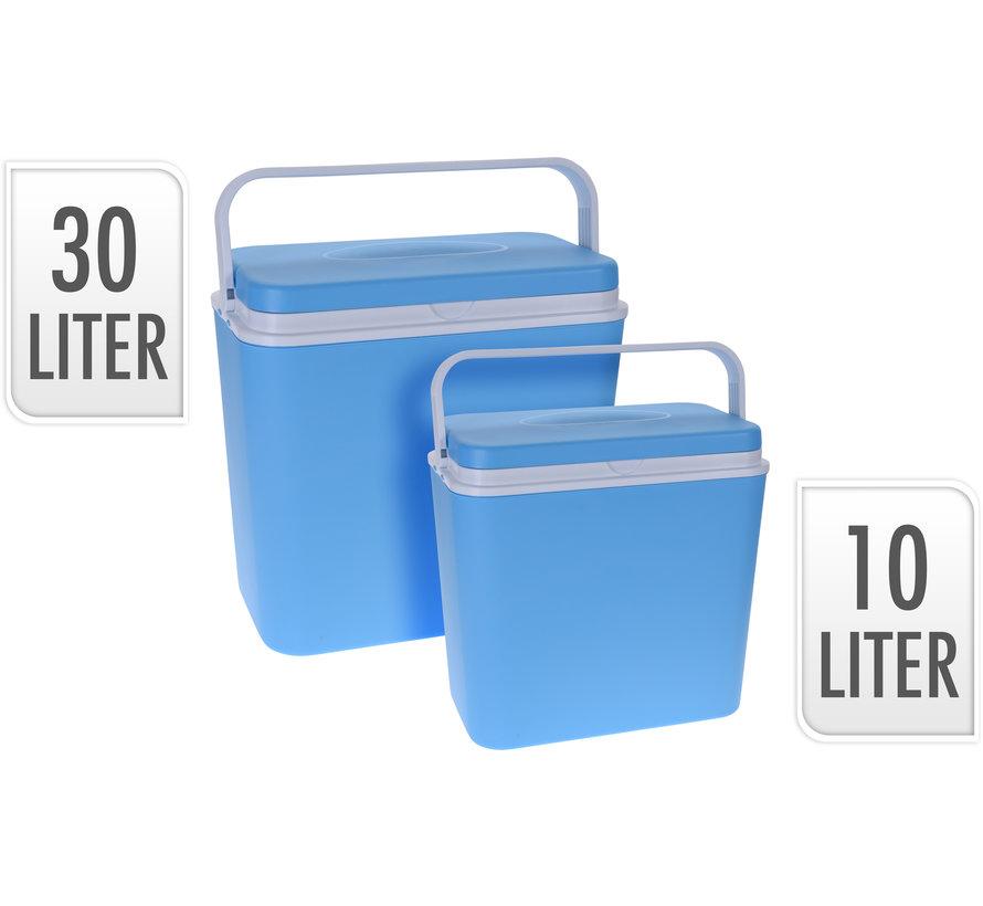 2-Delige koelbox set - blauw/wit - 30 Liter en 10 Liter