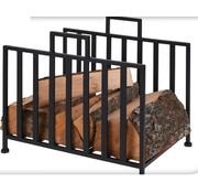 Ambiance BBQ - metalen houtopslag standaard - zwart - 41x31x35cm
