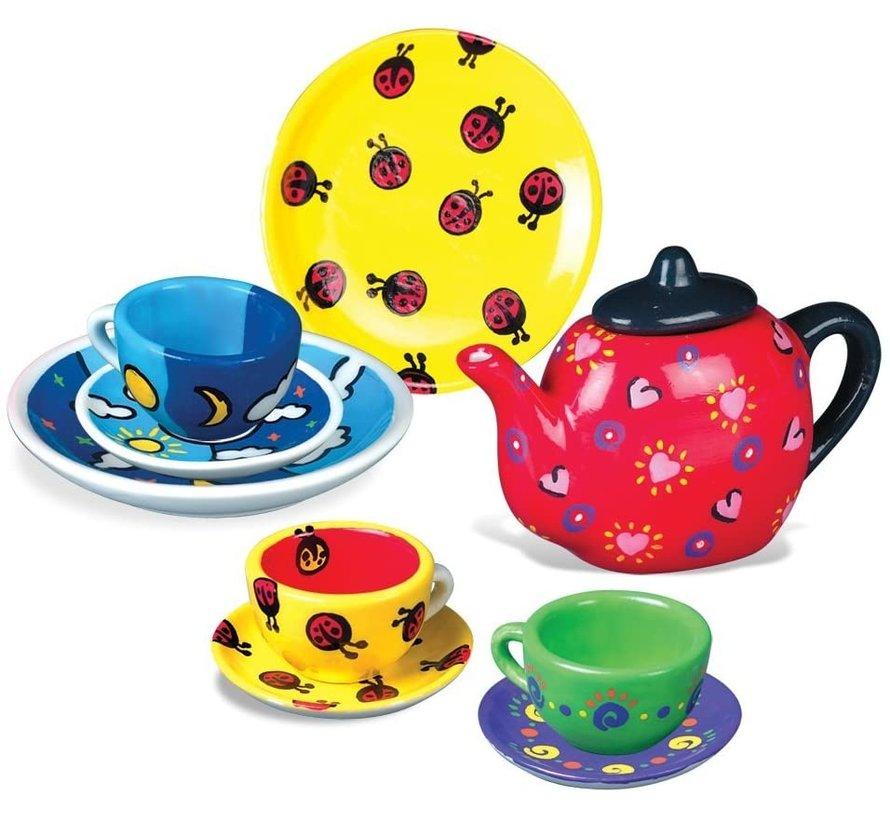 Tea Party - Ontwerp en schilder je eigen thee setje! 17-delige set