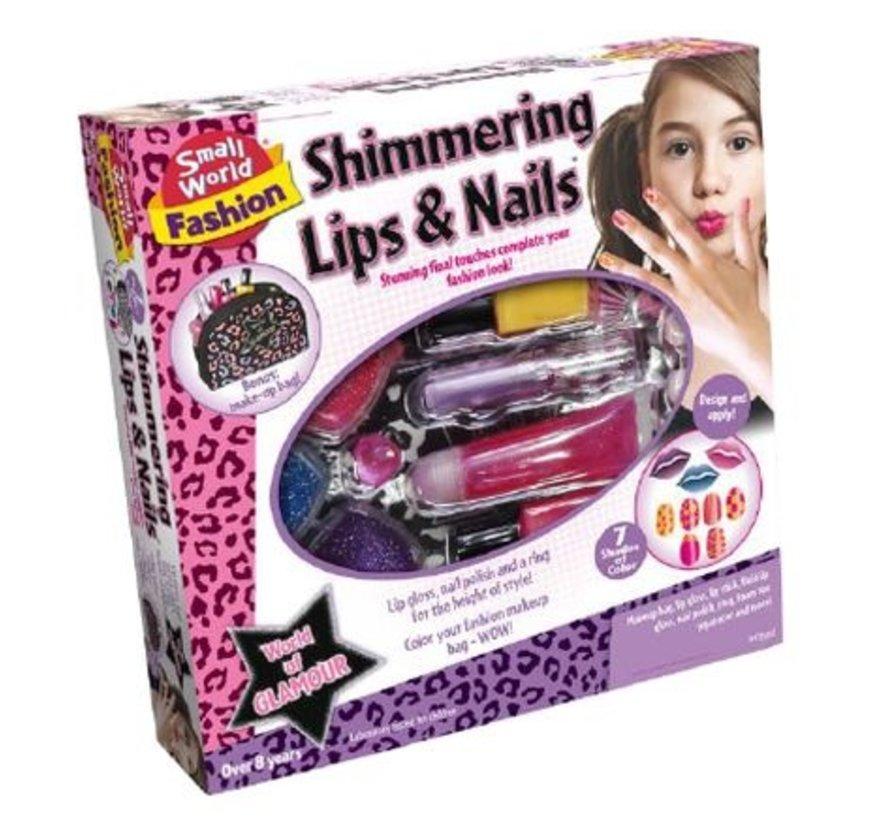 Shimmering Lips & Nails - Glinsterende lippen en Nagels + etui