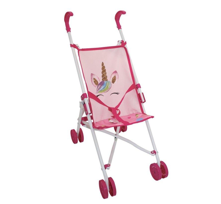 Amore Buggy Unicorn - Poppenwagen roze met eenhoorn design