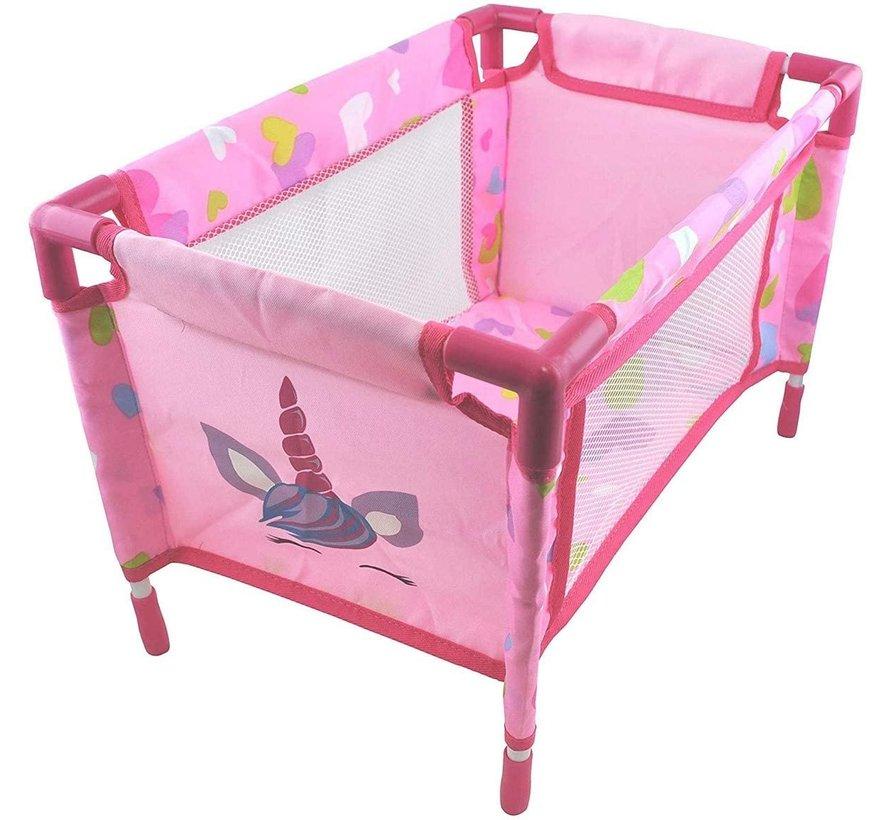 Amore Unicorn - Poppen reisbed inklapbaar - eenhoorn design roze