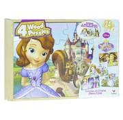 Disney Sofia The First - 4 houten puzzels met bewaardoos - Prinses Sofia