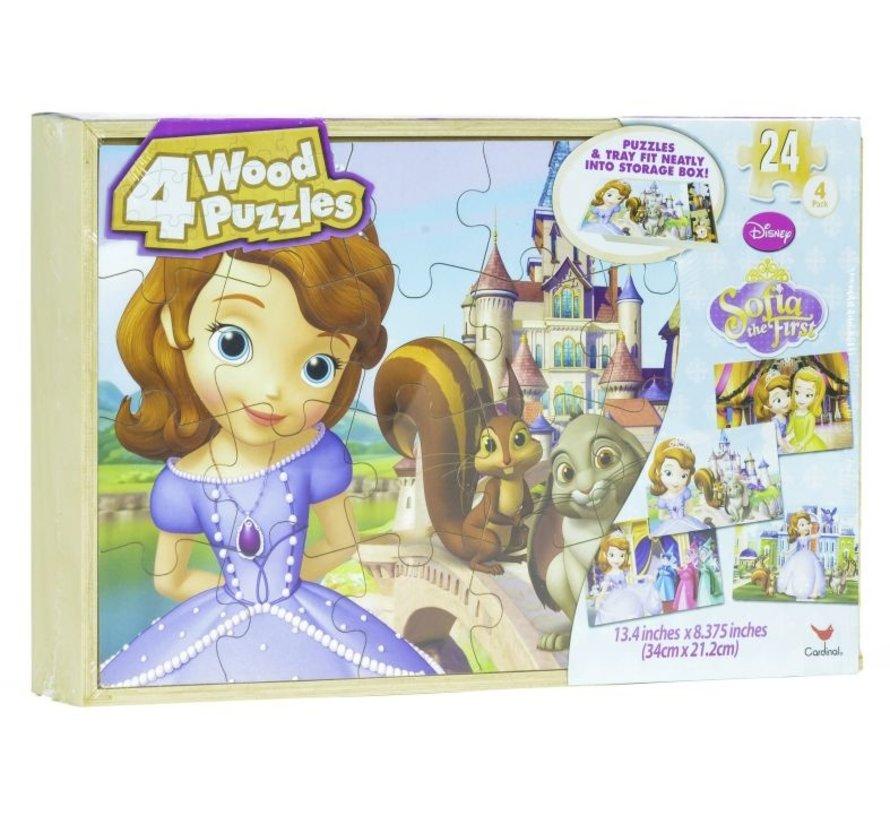 Sofia The First - 4 houten puzzels met bewaardoos - Prinses Sofia