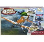 Disney Planes - 4 houten puzzels met bewaardoos