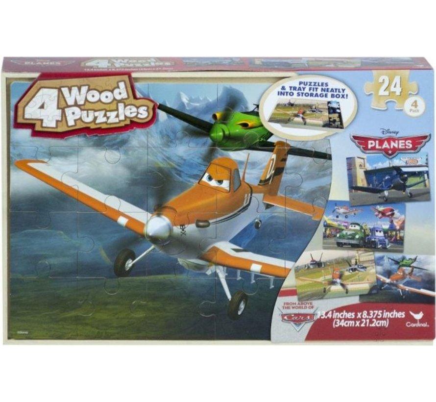 Planes - 4 houten puzzels met bewaardoos