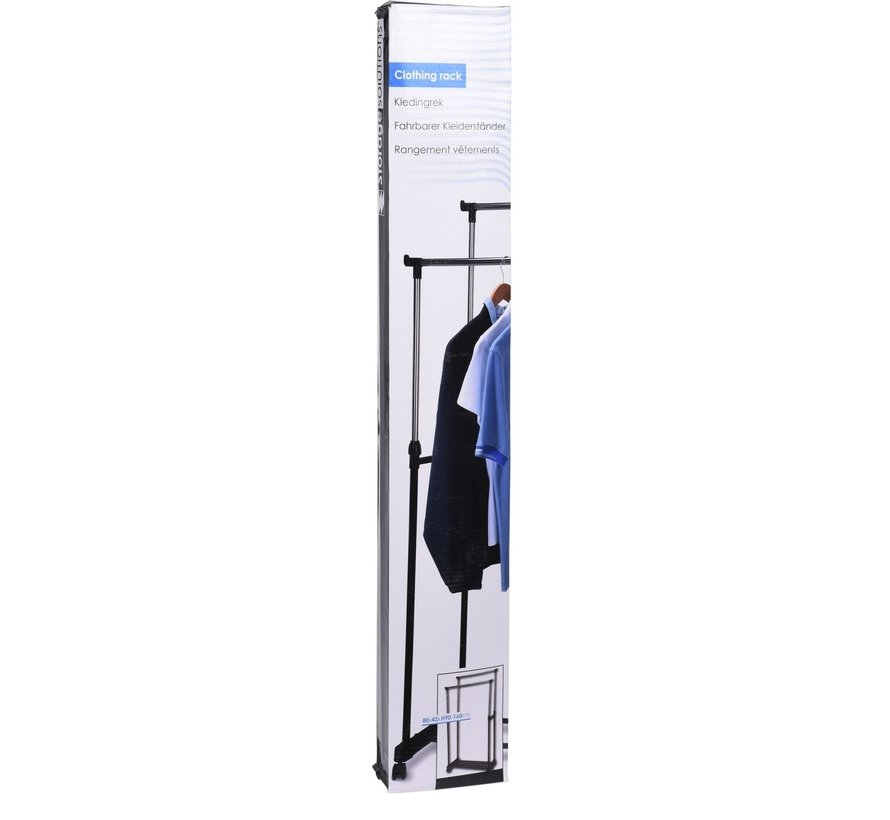 Dubbel kledingrek - verrijdbaar - in hoogte verstelbaar 90 tot 160cm