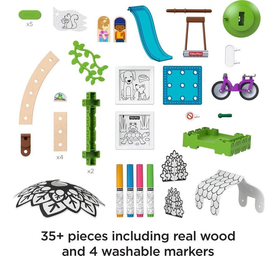 Wonder Makers - Kleurrijke Boomhuis - Houten Bouwset - 30+ Delige set
