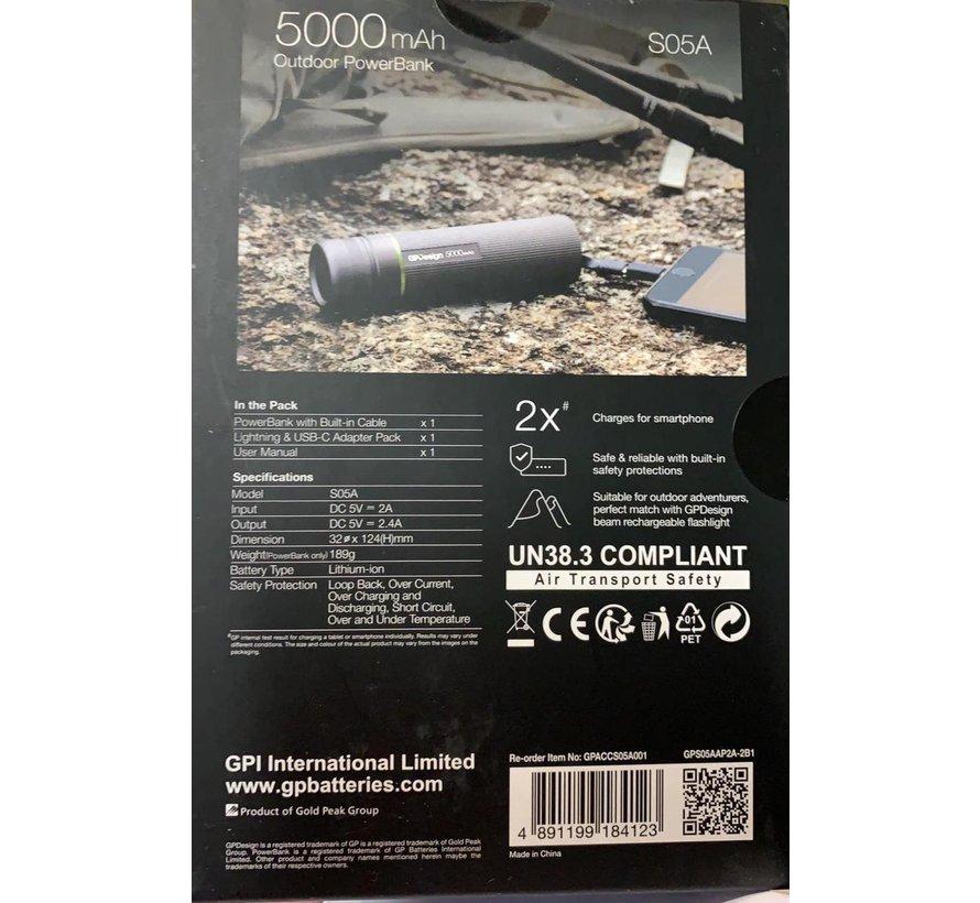 Design S05A - Outdoor Powerbank Lithium-Ion (Li-Ion) 5000mAh